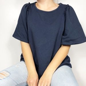 ERI & ALI ANTHRO | Navy Blue Remington Ruffle Top